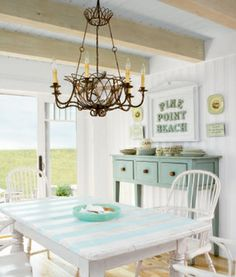 House of Turquoise: Coastal Living Idea Cottage 2008 - I like the stripe detail on the table & of course all the coastal colors
