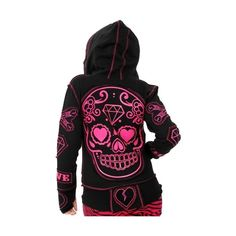 Poizen Industries - Sugar Skull Hoody (Black/Pink) *LAST ONE* - Poizen... ($6.47) ❤ liked on Polyvore