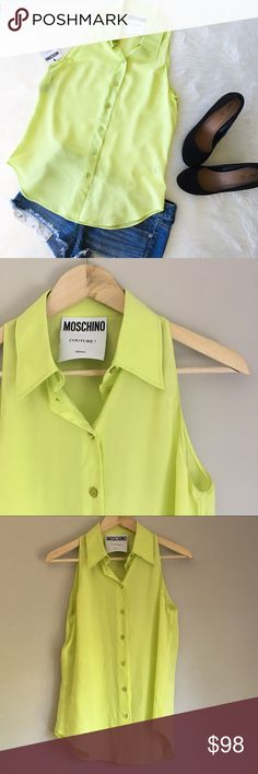 🆕Moschino Couture! Lime Green Button Down Moschino Couture! 100% silk lime green sleeveless button down. Size 8. The approximate measurements are 26' long & 38' bust. NWT. Love this brand! Top is perfect summer color. ❌No trades ❌ Modeling ❌No PayPal or off Posh transactions ❤️ I 💕Bundles ❤️Reasonable Offers PLEASE ❤️ Bundle & SAVE❗️❗️ Moschino Tops Blouses