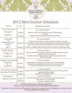 Mini Session Schedule 2012