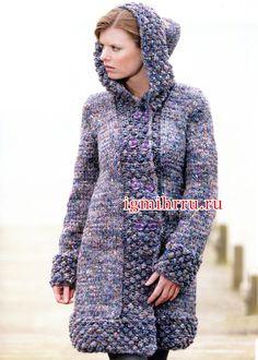 Пальто из твидовой пряжи с капюшоном. Вязание спицами Crochet Shawl, Knit Crochet, Warm Coat, Rubrics, Long Sweaters, High Neck Dress, Knitting, Jackets, Dresses