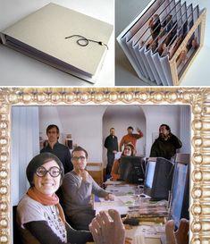 3 fotos del objeto. 1: el objeto cerrado. Parece un librito. 2: el objeto abierto dejando ver un acordeón de papel recortado. 3: Vista de frente. Efecto de profundidad.