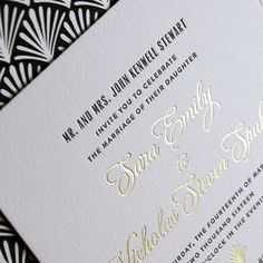 Sara and Nicholas - Art Deco style wedding invitation with gold foil and black letterpress - Lion In The Sun Park Slope Deco Wedding Invitations, Art Deco Fashion, Our Love, Gold Foil, Letterpress, Lion, Marriage, Place Card Holders, Park