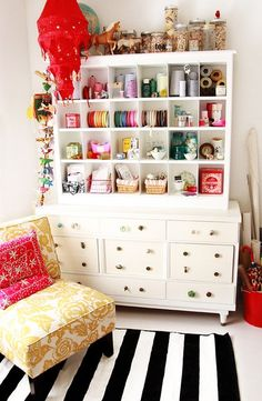 crafting room of my dreams - look how organized her crafts are! my crafts don't look anything like that!