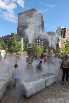 Fog fountain by Ross Miller at the Wharf District Parks along the Rose Kennedy Greenway, Boston, MA.  Photo courtesy of Don Kindsvatter.