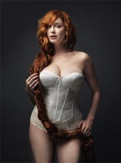Christina Hendricks - she is a beautiful size 14 - 36DD.  Those are my measurements, but I dont look that sexy!  Hmmmmmm.....maybe it is how she wears it!