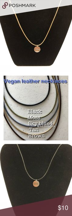 Vegan leather with charms Pick your color cord and charm. Add them as a bundle . Message me with the color Jewelry Necklaces
