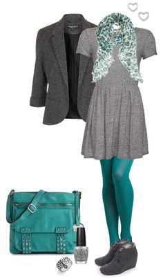 """""""Grey & Teal"""" by alysia123 on Polyvore  skirt would have to be longer because I'm too dang tall."""