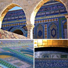 look at the detail! The exterior walls of Dome of the Rock were richly decorated with marble and mosaics similar to the interior and mirror the octagonal design. They each measure approximately 18 m/ 16 feet wide and 11 m/ 36 feet high. Islamic Architecture, Architecture Design, Dome Of The Rock, Cultural Experience, Silk Road, Mosques, Holy Land, East Africa, Old City