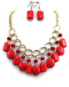 Chunky Coral Necklace Set - interesting use of round and rectangle bead shapes together.