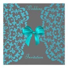 Teal and Gray Wedding   ... teal blue and grey lace and ribbon design these diy wedding invites