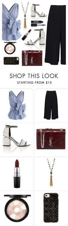 """Culottes x Gingham"" by pure-vnom ❤ liked on Polyvore featuring Chicwish, TIBI, Alexander Wang, Yves Saint Laurent, MAC Cosmetics, Tory Burch, Casetify, Edward Bess, gingham and culottes"