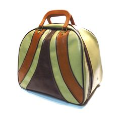Brown and Tan Stripe Bowling Bag Vintage Retro Rockabilly Bowling Ball Bag by VintageCreekside on Etsy Rockabilly Fashion, Rockabilly Style, Bowling Bags, Rust Orange, Vintage Purses, Your Shoes, Retro Vintage, Casual Outfits, Motor Homes