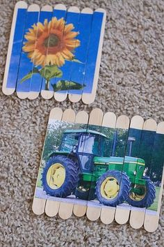 TODDLER TIME ACTIVITY: POPSICLE STICK PUZZLES = it is easiest to tape the popsicle sticks to the table with masking tape to keep them together, then glue pictures on with Elmer's glue, and let dry. Cut between the sticks with an x-acto knife. Pictures of family members and pets with their names added underneath with a Sharpie are especially fun to put back together!!