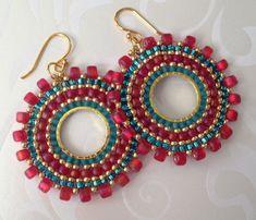 Beaded Small Hoop Earrings Aqua Berries Red and Aqua Seed Bead Earrings Beadwork Jewelry Beaded Earrings Native, Seed Bead Earrings, Seed Beads, Beaded Jewelry, Hoop Earrings, Diy Jewelry Making, Hobbies And Crafts, Bead Art, Bead Weaving