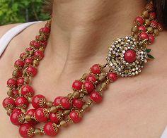 Vintage Miriam Haskell Sgnd Flower Centerpiece Art Glass Rhinestone Necklace | eBay