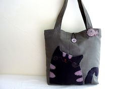 Cat Tote Bag by dancingintherains on Etsy, $46.00