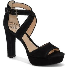 Vince Camuto Shayla- Crisscross Strap Platform High Heel ($129) ❤ liked on Polyvore featuring shoes, pumps, black true suede, vince camuto shoes, high heel shoes, vince camuto, platform shoes and vince camuto footwear