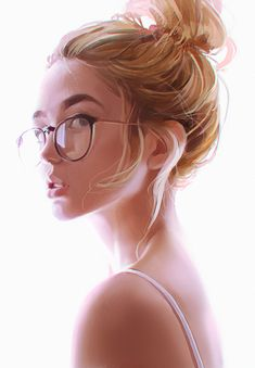 Artist: Kuvshinov Ilya {figurative art beautiful blonde female head eyeglasses young woman face portrait digital painting} kuvshinov-ilya.deviantart.com