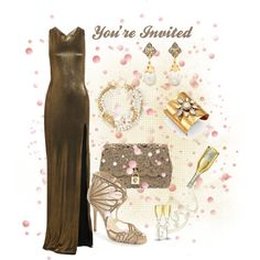 """""""Black-Tie Event - Bronze Ensemble"""" - created by CzeCze.  Entered in the """"Dress The Guests At Kim Kardashian's Wedding"""" contest on Polyvore:  """"Kim Kardashian's big day is only five days away! Help her guests find a black-tie look that is perfect for an Italian wedding.""""  #kimandkanye"""