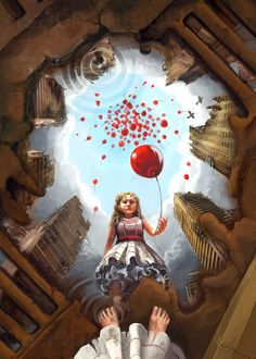 Digital painting ideas are similar to or we can say a replica of the original form of art painting where we work with not paints, oils or on canvas but with Kunst Inspo, Art Inspo, Art And Illustration, Red Balloon, Balloons, Kunst Portfolio, Reflection Art, Perspective Art, Ap Art