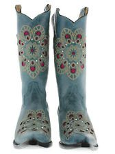 Women's cowboy boots gringo love rhinestone ladies flower old turquoise leather