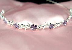 Purple Flower Crystal Headband - medieval crown circlet tiara