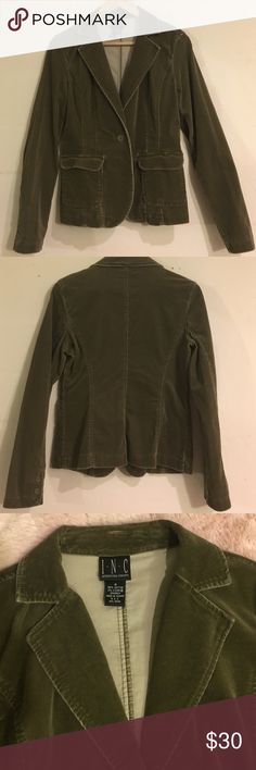 🍃International Concept Corduroy Jacket🍃 Corduroy Jacket from INC. Actual color is navy green. Size is Small. Materials made out of 98% Cotton and 2% spandex. Two front pockets and single button closure in front. In good condition. INC International Concepts Jackets & Coats Jean Jackets