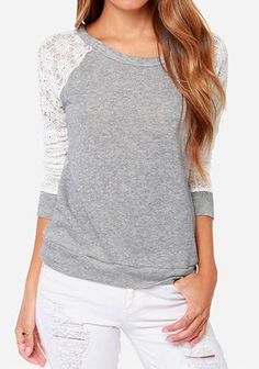 Light Grey Patchwork Lace Knit T-Shirt