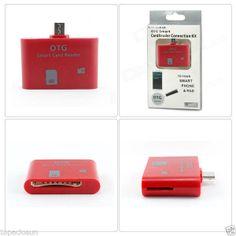 Adaptador OTG ROJO USB Lector Tarj SD MicroSD TF Samsung Galaxy S2 S3 S4 Note
