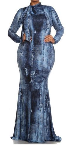 "Plus Size ""Selfish"" Denim Print Neck Tie Dress"