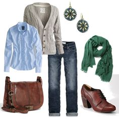 From polyvore.com, here is another entire outfit. I love the combo of colors: blues, dark green, neutrals. It's classic but not stodgy.