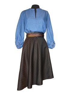 Idée look - Jupe soleil asymétrique en jacquard de coton et soie Waist Skirt, High Waisted Skirt, Skirts, Fall, Fashion, Silk, Cotton, Seasons, Moda