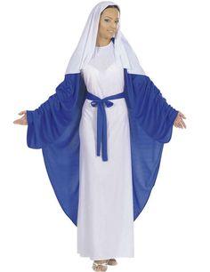 Disfraz de Virgen María adulto: Este disfraz de Virgen Maria para mujer está compuesto por un vestido, una capa y una cofia (zapatos no incluidos). El vestido largo de color blanco tiene dos toras azules que se atan por... Elf Fancy Dress, Christmas Fancy Dress, Ladies Fancy Dress, Fancy Dress Outfits, Christmas Barbie, Pixie Outfit, Cowgirl Costume, Hippie Costume, Costume Ideas