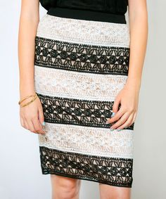 This Black & White Stripe Lace Neiva Pencil Skirt by White Plum is perfect! #zulilyfinds