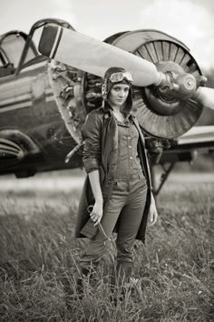 "vintage aviation (not a vintage photo ,not from WWl or any war, not the first woman mechanic or anything like that - this is a modern photo. Nothing wrong with staging ""vintage"" photos, but people seem to take them as ""real"" old photos. Diesel Punk, Nose Art, Woman Mechanic, Pin Up, Female Pilot, Air Festival, Photo Portrait, Aviation Art, Photography Editing"