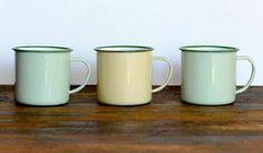 Vintage enamel cups set of three