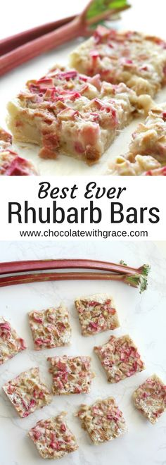 Rhubarb bars with a shortbread crust and tangy rhubarb custard filling are a fun, easy spring dessert. Visit my blog for all the best rhubarb recipes on the internet. #rhubarb