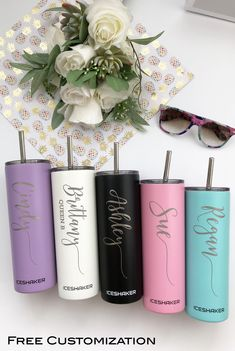 BRIDESMAID GIFTS -- Keep your drinks ice cold all day long with these skinny steel tumblers + FREE personalization Bachelorette Party Favors, Wedding Favors, Our Wedding, Wedding Gifts, Dream Wedding, Wedding Ideas, Wedding Souvenir, Cricut Wedding, Bridesmaid Proposal