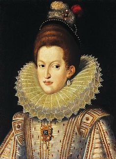 Margaret of Austria (1584–1611), of the Habsburg family, became Queen consort of Spain & Portugal by her marriage to King Philip III, of the Habsburg family. Margaret was the daughter of Archduke Charles II of Austria, the son of Holy Roman Emperor Ferdinand I & Maria Anna of Bavaria.