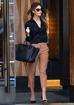 Lily Aldridge in Gucci, Elizabeth and James sunglasses and a Celine bag in New York.