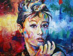 "Audrey Hepburn, Acrylic on Canvas, 48""x60"", 1219mmx1524mm. SOLD"
