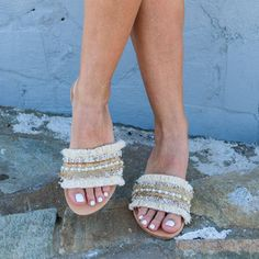 RiRiPoM Boho Sandals Slide Sandals Slip On Pom Pom