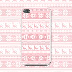Pink Winter Reindeer - Cute iPhone Case for iPhone 4/4s, iPhone 5/5s - Girly iPhone Cover - Pink Snowflake - Christmas Gift - Pink iPhone by NouveauGypsyDesigns, $10.00