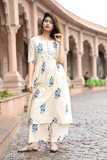 Price free COD available Nityasa Fancy Kurti with Palazzo Set Vol 1 Fabric: Cotton Sleeves: Sleeves Are Included Size: Variable (Check Product For Details) Length: Up To 46 in Type: Stitched Description: Variable (Check Product For Detai Dress Indian Style, Indian Fashion Dresses, Pakistani Dresses, Indian Outfits, Indian Wear, Simple Kurta Designs, Fancy Kurti, Sleeves Designs For Dresses, Indian Designer Wear