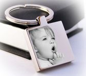 Beautiful engraved portrait square Keyring A lovely thoughtful gift or a great keepsake