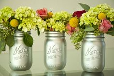 Spray paint the 'inside' of Mason jars for giveaway vases for your garden blooms. Add ribbon around the top, if desired. Any color works...for use on glass.