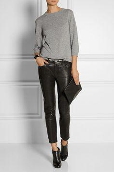 Frame Denim | Le Garcon textured-leather slim boyfriend pants | NET-A-PORTER.COM
