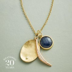 """ANNIVERSARY MOON NECKLACE--Anne Sportun dazzles with our exclusive 20th anniversary design: a rose-cut sapphire, diamond-studded disk and diamond crescent moon. Necklace handmade in Canada, mingling 14kt yellow and rose gold. Lobster clasp. Exclusive. 18"""" to 20""""L."""
