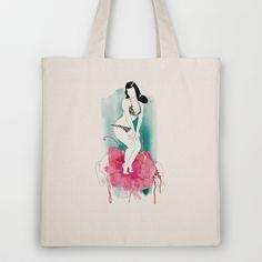 Bettie Page Tote Bag by Judit Garcia-Talavera - $18.00